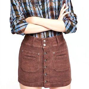 Free People Joanie Corduroy Chocolate Mini Skirt